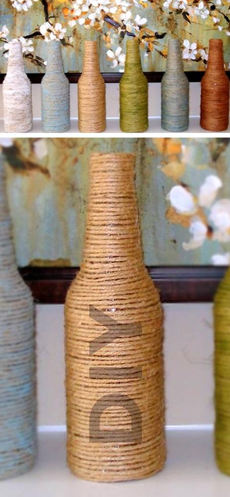 Reciclagem de Garrafas de Vidro com Linha e Barbante