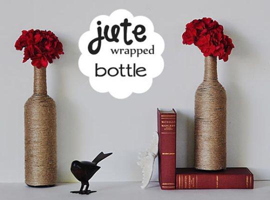 garrafa com juta decoracao