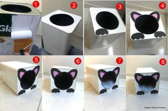 Casinha de Gato na Lata de Tinta