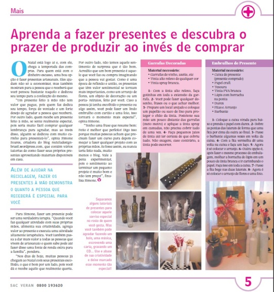 Blog ReciclaDesign no Jornal Veran de SP